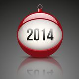 Christmas ball with the date New Year 2014 Stock Photography