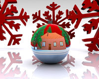 Christmas ball decorated - 3D Royalty Free Stock Images