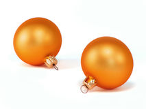Christmas ball decoration. Orange gold closeup selected Royalty Free Stock Photography