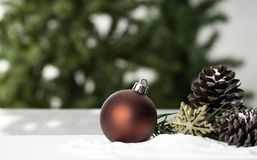 Christmas ball decoration bauble closeup New Year`s royalty free stock image