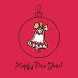 Christmas ball with decoration. Christmas ball with Christmas bell. Vector illustration. You can use it  for design of greeting card Stock Image