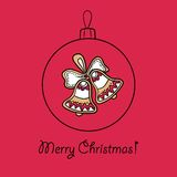 Christmas ball with decoration. Christmas ball with Christmas bells. Vector illustration. You can use it  for design of greeting card Stock Photo