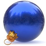Christmas ball decoration blue bauble closeup New Year bauble Royalty Free Stock Photo