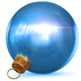 Christmas ball decoration blue New Year`s Eve bauble bright. Christmas ball decoration blue New Year`s Eve bauble hanging adornment traditional Happy Merry Xmas Royalty Free Stock Photo