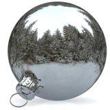 Christmas ball decoration chrome white bauble closeup Stock Images