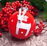 Christmas ball decoration with deer Stock Image