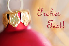 Christmas Ball Decoration with Frohes Fest Stock Photos