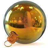 Christmas ball decoration golden New Year`s Eve bauble closeup Royalty Free Stock Photos