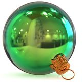 Christmas ball decoration green New Year`s Eve bauble Stock Photography