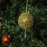 Christmas ball decoration  on green tree Royalty Free Stock Photo