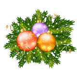 Christmas ball decoration isolated on white backgr. Ound, Spruce branches with beads and sequins Royalty Free Stock Photo