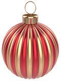 Christmas ball decoration New Years Eve bauble gold red. New Years Eve bauble Christmas ball decoration gold red wintertime ornament icon traditional. Shiny Royalty Free Stock Photos