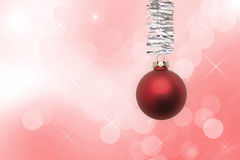 Christmas ball decoration. Red Christmas ball decoration winter background Royalty Free Stock Photos