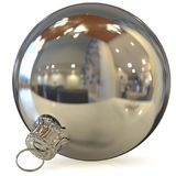 Christmas ball decoration silver New Year`s Eve bauble white Royalty Free Stock Images