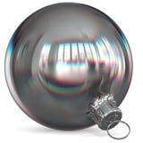 Christmas ball decoration silver white bauble closeup metallic Royalty Free Stock Photography