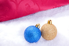 Christmas ball decoration with snow Royalty Free Stock Photo