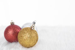 Christmas ball decoration on table Royalty Free Stock Photography
