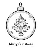 Christmas ball with decoration. Christmas ball with Christmas tree. Vector illustration. You can use it  for design of greeting card Royalty Free Stock Photo
