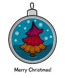 Christmas ball with decoration. Christmas ball with Christmas tree. Vector illustration. You can use it  for design of greeting card Stock Photos