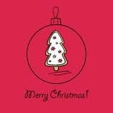 Christmas ball with decoration. Christmas ball with Christmas tree. Vector illustration. You can use it  for design of greeting card Royalty Free Stock Photography