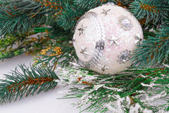 Christmas ball. Christmas decoration with white ball and fir-tree branch Royalty Free Stock Photo