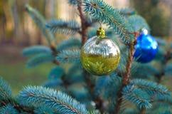 Christmas ball decoration. Christmas yellow ball decoration ornament Stock Photo