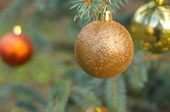 Christmas ball decoration. Christmas yellow ball decoration ornament Stock Image