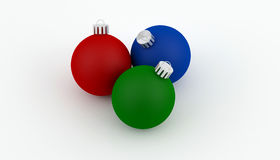 Christmas Ball decorations. In green red and blue Royalty Free Stock Images