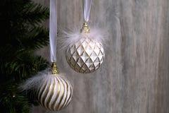 Christmas ball decorations. New Year`s decor. New Year holiday. Christmas ball decoration with Christmas tree Royalty Free Stock Photography