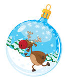 Christmas ball with deer. Illustration of a christmas ball with deer Stock Photography