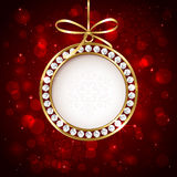 Christmas ball with diamond Stock Photography