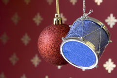 Christmas ball and drum Stock Images