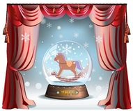 Christmas Ball. Elegant winter Christmas background with red curtains and glass snow ball with toy horse inside vector illustration