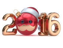 Christmas ball emoticon New Year's Eve 2016 date bauble. Santa Claus hat cartoon mustache face decoration red gold. Happy Merry Xmas cheerful funny person Royalty Free Stock Photo