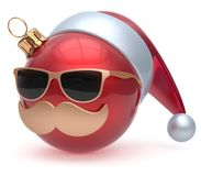 Christmas ball emoticon Santa Claus hat adornment decoration. New Year`s Eve bauble cartoon mustache face joyful red. Happy Merry Xmas cheerful eyeglasses Royalty Free Stock Images