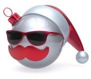 Christmas ball emoticon Santa Claus hat adornment decoration. New Year`s Eve bauble cartoon mustache face joyful white. Happy Merry Xmas cheerful eyeglasses Stock Image