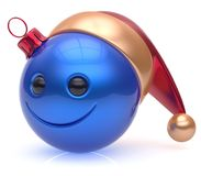 Christmas ball emoticon smiley face adornment New Year smile. Christmas ball emoticon smiley face adornment Happy New Year`s Eve bauble decoration cute blue Royalty Free Stock Photo