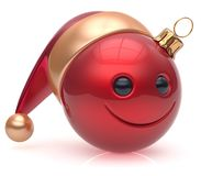 Christmas ball emoticon smiley face adornment New Year smile. Christmas ball emoticon smiley face adornment Happy New Year`s Eve bauble decoration cute red Stock Photos