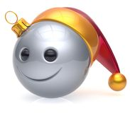 Christmas ball emoticon smiley face adornment New Year smile Royalty Free Stock Photography