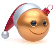 Christmas ball emoticon smiley face adornment New Year smile. Christmas ball emoticon smiley face adornment Happy New Year`s Eve bauble decoration cute golden Royalty Free Stock Images