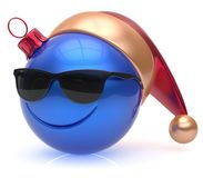 Christmas ball emoticon smiley face eyeglasses adornment blue. Christmas ball emoticon smiley face eyeglasses adornment New Year`s Eve bauble cartoon decoration Stock Images