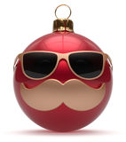 Christmas ball emoticon smiley mustache face New Year's Eve. Cartoon bauble cute decoration red. Happy Merry Xmas funny glasses person character laughing joyful stock illustration