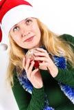 Christmas ball end beautiful Girl Royalty Free Stock Image