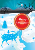 Christmas Ball_eps. Illustration of winter atmosphere with deer and red ball Royalty Free Stock Images