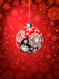 Christmas ball on falling flakes template. EPS 8 Stock Photo