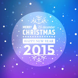 Christmas ball and falling snow flakes with violet background Stock Images