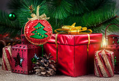 Christmas ball from felt Royalty Free Stock Images