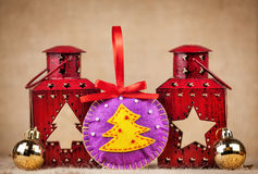 Christmas ball from felt Royalty Free Stock Image