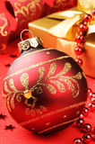 Christmas ball on festive background Stock Images