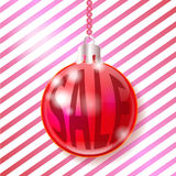 Christmas ball. Festive Christmas ball with the inscription Stock Photos